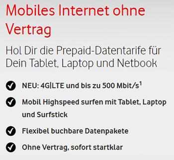 Vodafone Prepaid Datentarif